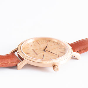 Serenity Maple - Rose Gold Women's Wooden Watch Side