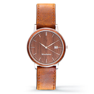 Florence walnut wood watch silver