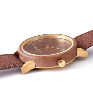 Troy Walnut Canvas Strap Wooden Watch Side
