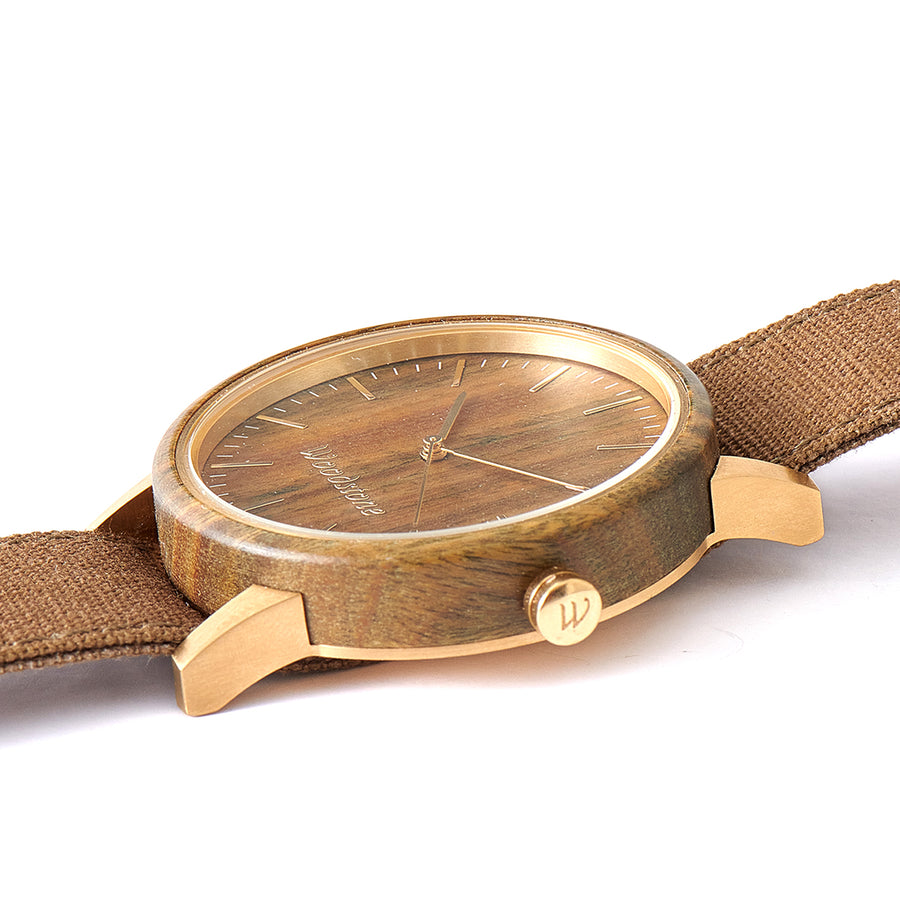 Troy Green Sandalwood Canvas Strap Wooden Watch