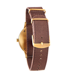 Troy Black Sandalwood - Gold Canvas Wooden Watch Back