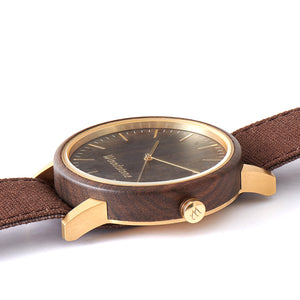 Troy Black Sandalwood - Gold Canvas Wooden Watch Side