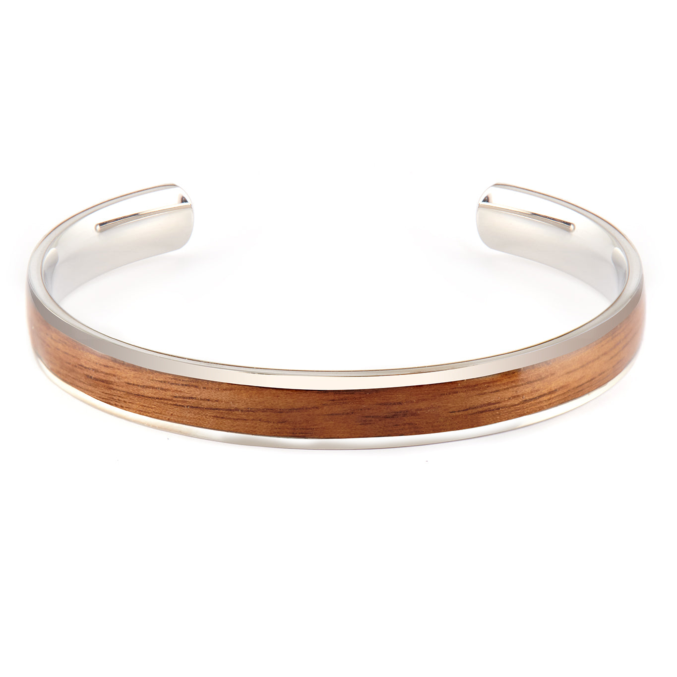 Diana Walnut - Silver Bangle