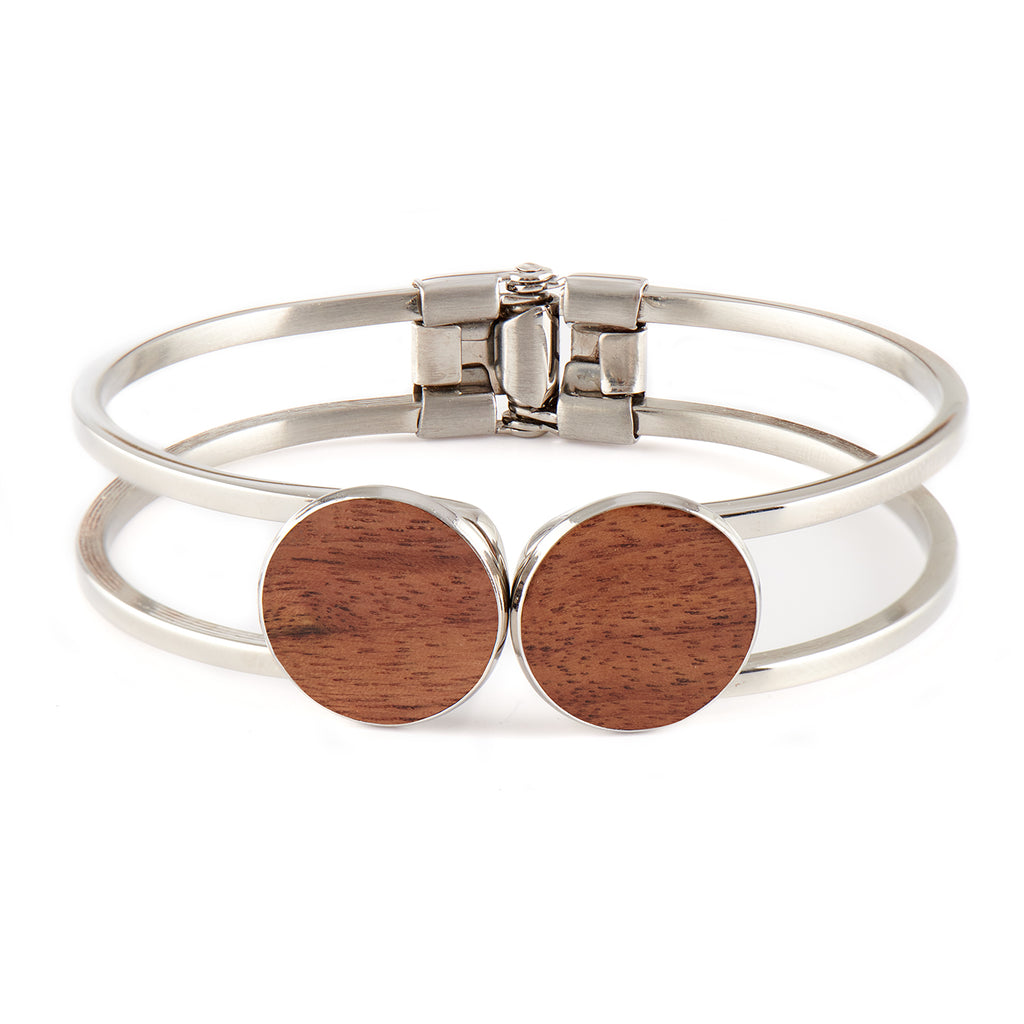 Olivia Walnut - Silver Bangle