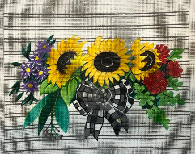 Sunflowers with Gingham Bow