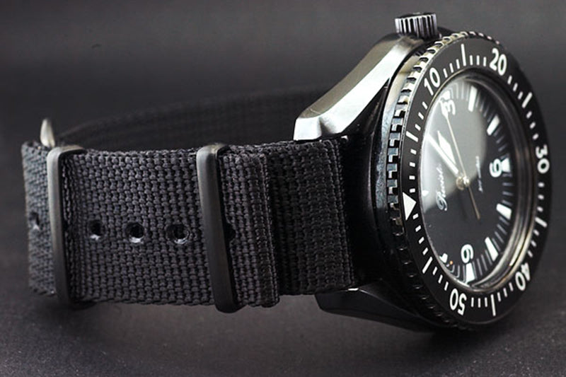 TIMEFACTORS BLACK NATO WITH PVD FITTINGS