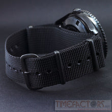 Load image into Gallery viewer, TIMEFACTORS BLACK NATO WITH PVD FITTINGS