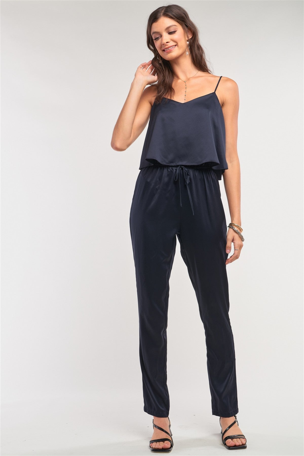 Navy Satin Sleeveless Soft V-neck Layered Self-tie Waist Detail Jumpsuit