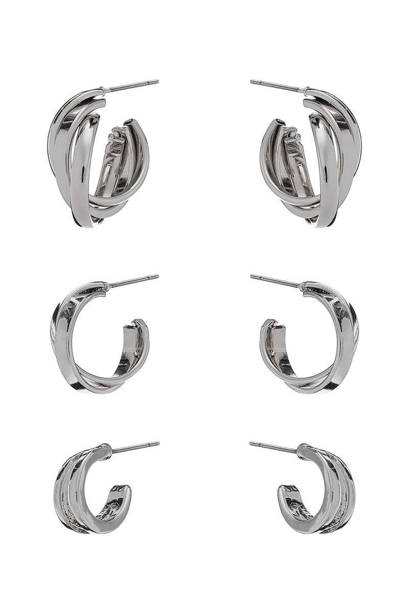 Basic Metal Mini Hoop 3 Pair Earring Set