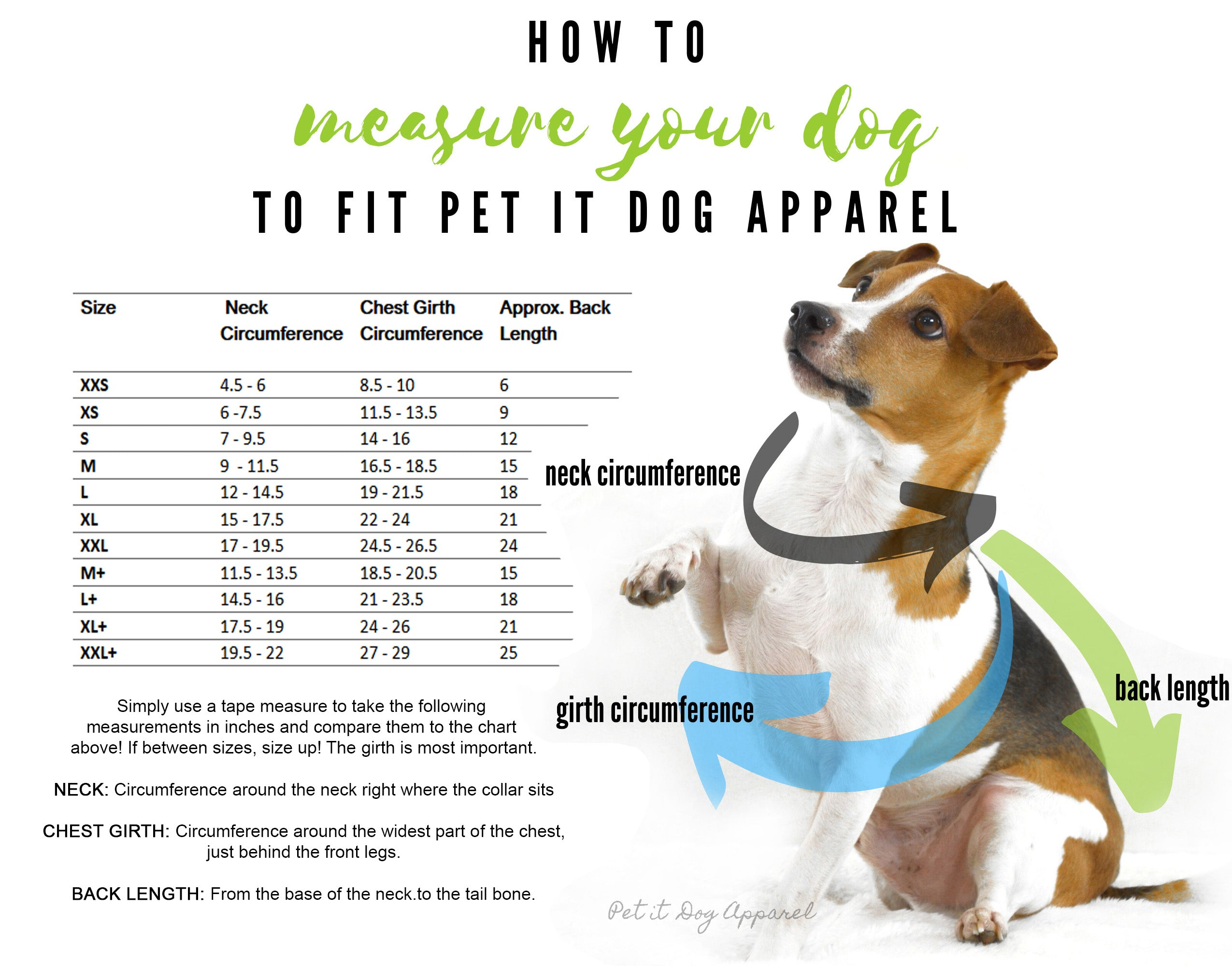 Pet it Dog Apparel Size Chart