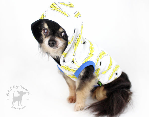 Cute Banana dog hoodie for chihuahuas, pugs, yorkies adorable custom made dog clothes
