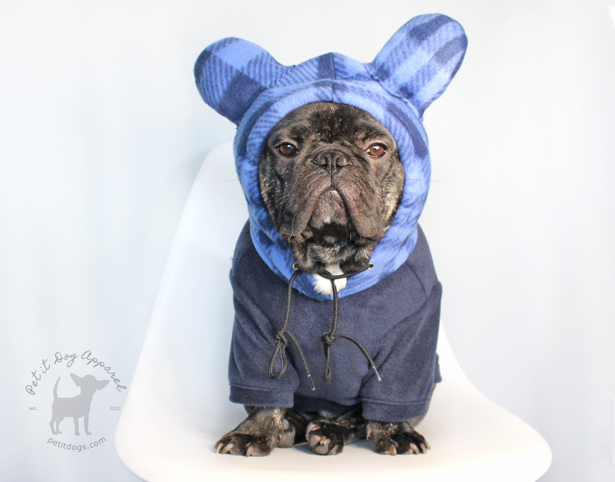 Dog Hoodie with plaid bear ears cute fleece dog costume Navy