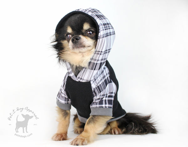 Dog hoodie in grey plaid and black arctic fleece