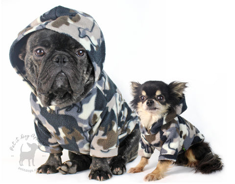 Essential fleece Dog hoodie dog camo print