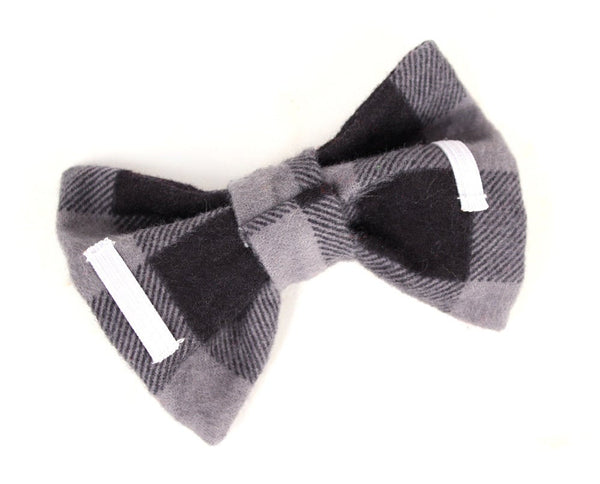 Dog Collar Bow Tie Classic Black & Grey Buffalo Plaid collar accessory