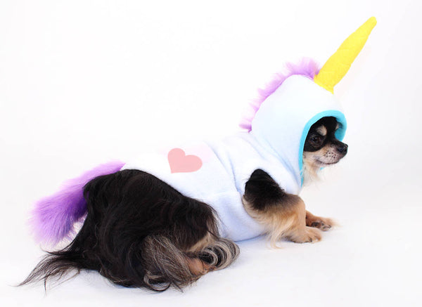 Dog Costume White and Purple Uniorn dog hoodie