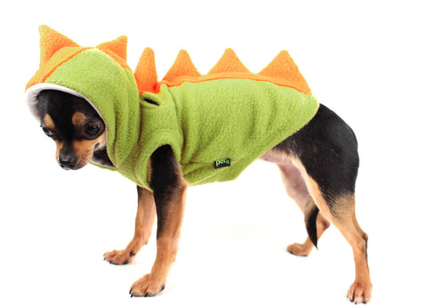 Dog Costume Dinosaur Spikes Green and orange fleece dog Hoodie