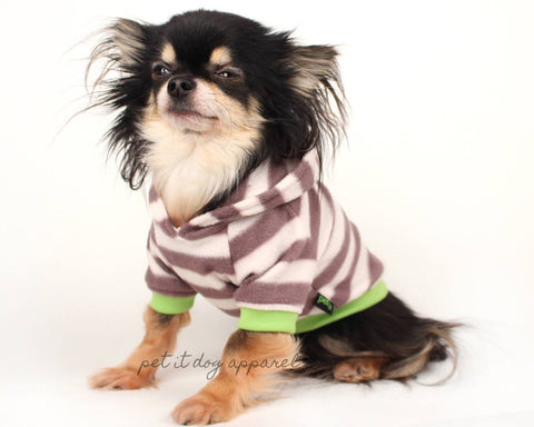 Dog Clothes gray and white striped light weight fleece dog hoodie