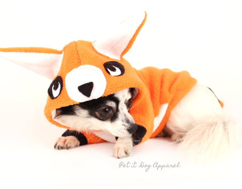 Dog Costume Orange fleece Fox animial dog hoodie
