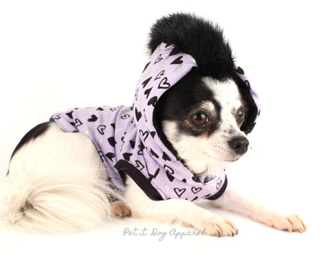 Dog Hoodie Purple heart faux fur mohawk dog shirt