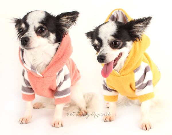 Dog clothes Striped cozy Arctic fleece hoodie