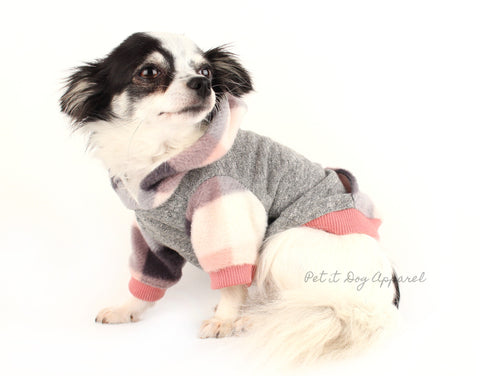 Dog clothes pink plaid fleece pull over hoodie