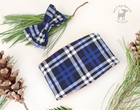 Blue and Camel Plaid Belly band for dogs