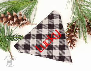 Dog Bandana Custom Name Embroidery option Personalized gifts for pets slip on bandana light grey Buffalo Plaid