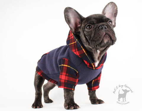 Dog hoodie Cozy Plaid & Navy Fleece sweater for French bulldogs chihuahua doxie