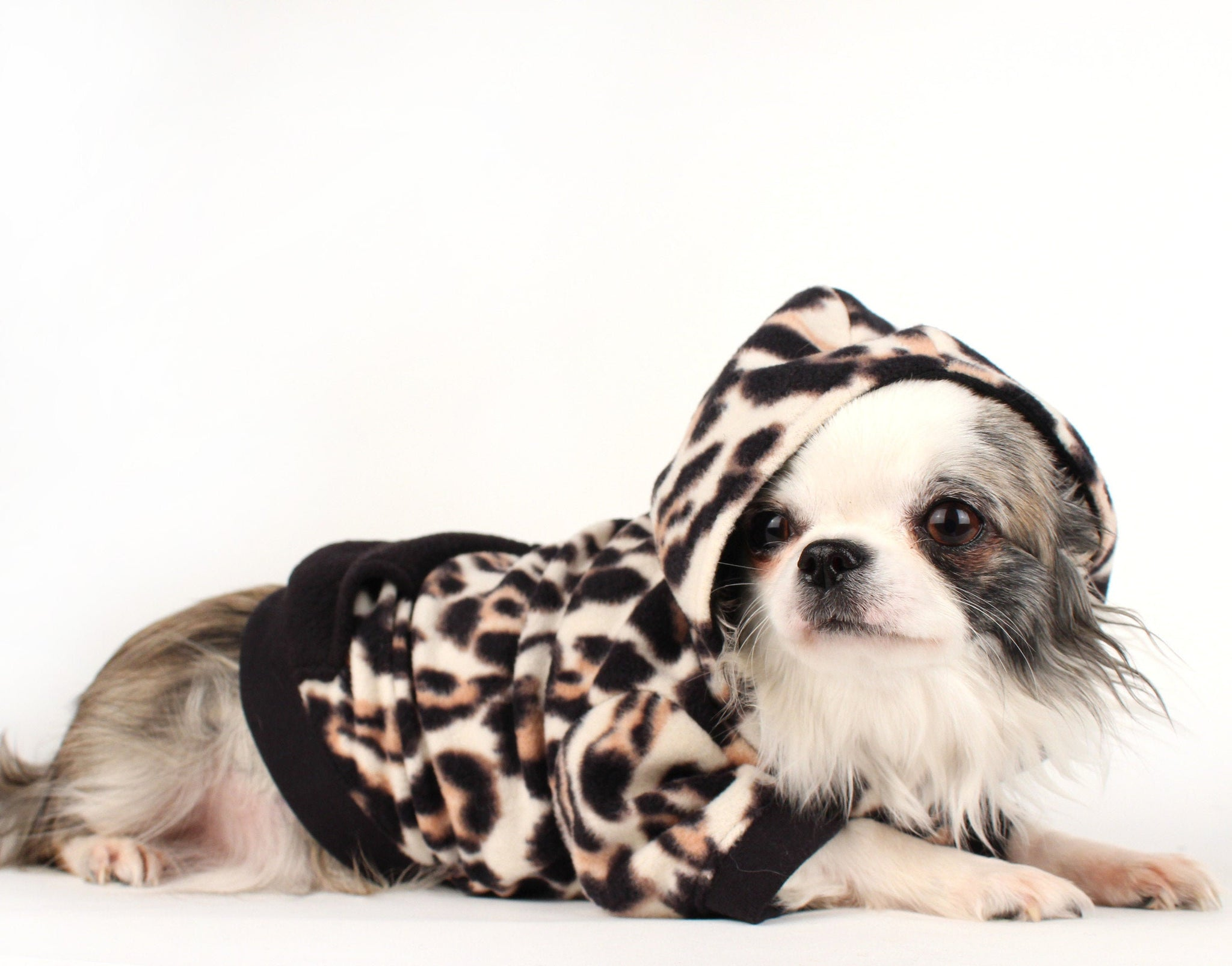 Leopard print fleece dog hoodie for French bulldogs chihuahua doxie