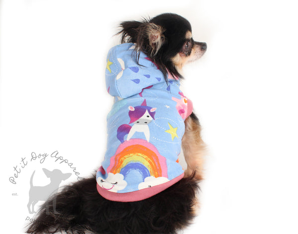 Rainbow dog hoodie cute jersey top for French bulldogs chihuahua cavalier custom made dog clothes