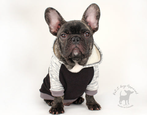 Cozy fleece dog hoodie with sherpa lining for French bulldogs chihuahua doxie custom made