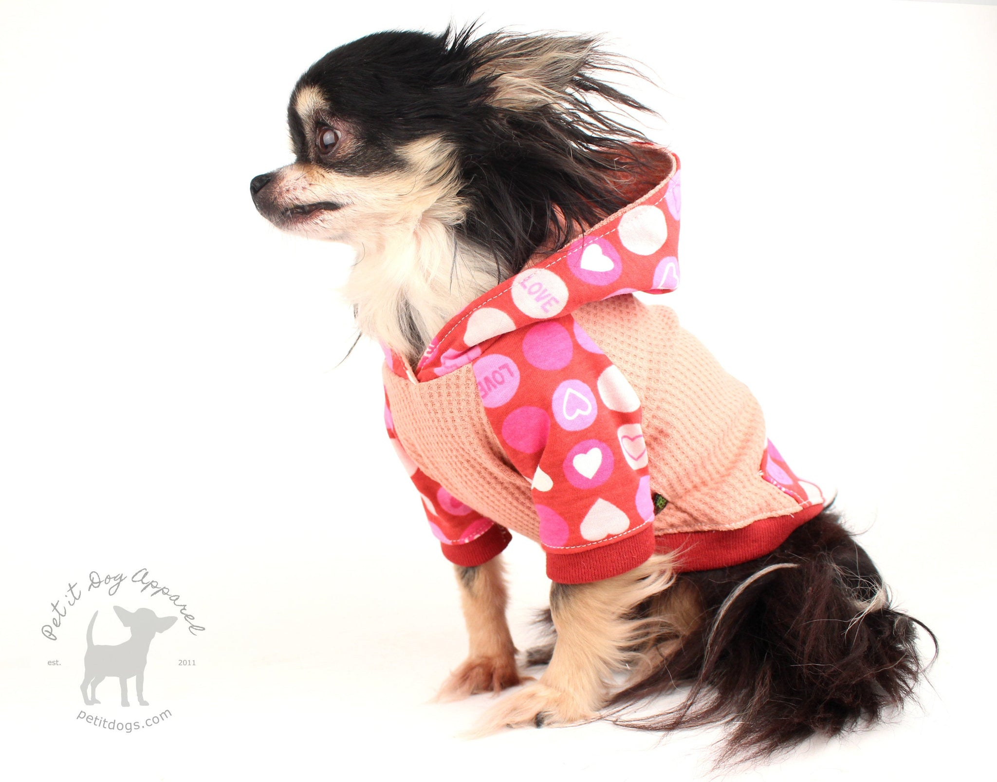 Dog hoodie cute Valentines Day hoodie for French bulldogs chihuahua cavalier custom made dog clothes