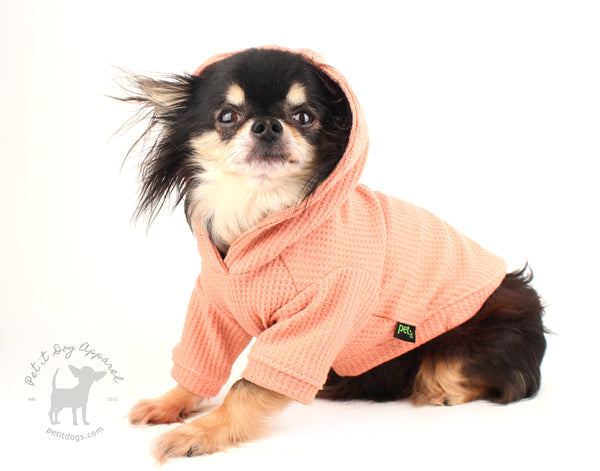 Dog hoodie dusty rose waffle jersey basic hoodie for everyday Chihuahua clothes, french bulldog, yorkie