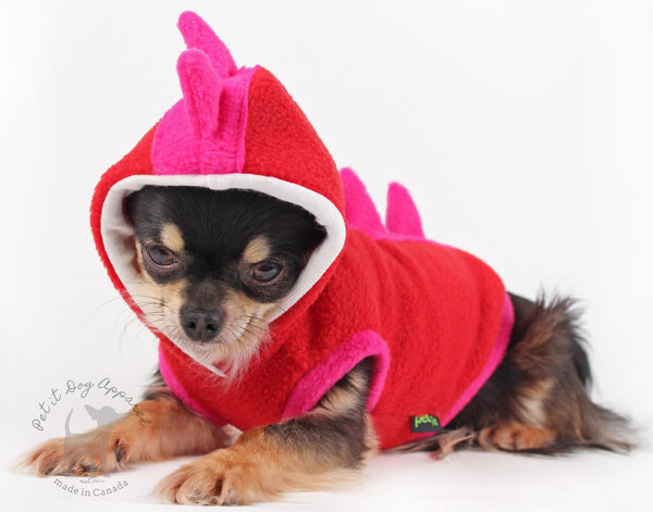 Dog Costume Dinosaur Spikes Pink and red fleece dog Hoodie Cute Valentines gift