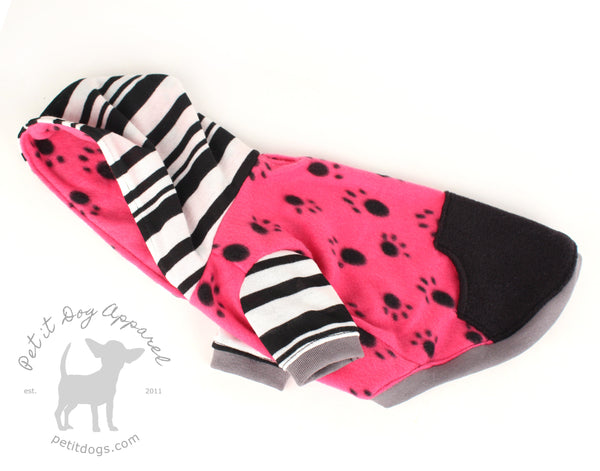 Fleece dog hoodie Pink Paw print with pocket for French bulldogs chihuahua pug custom made dog clothes
