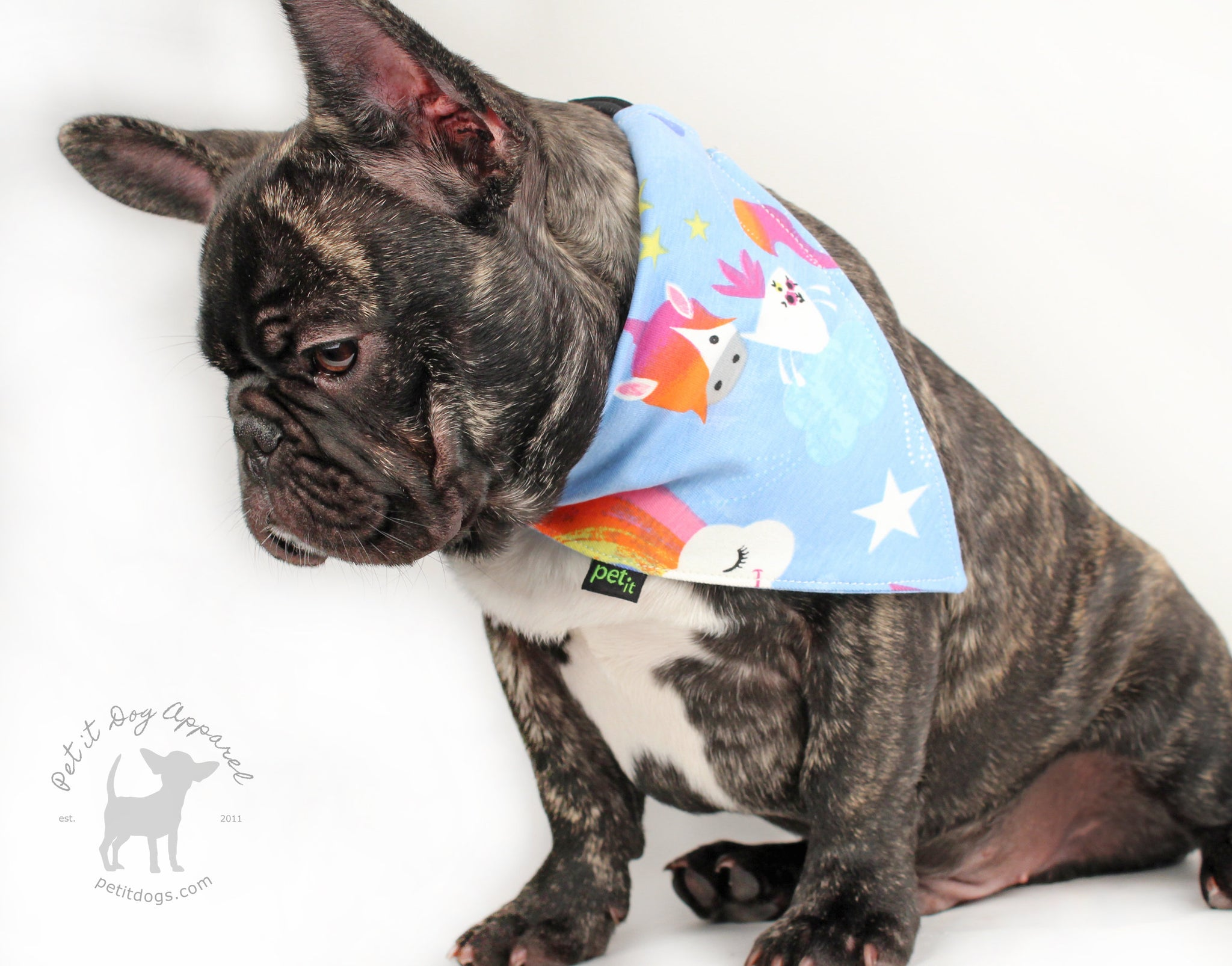 Rainbow & Unicorn slip on dog bandana in blue for adorable pets