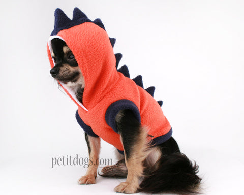 Dog Costume Dinosaur Spikes Orange & Navy fleece dog Hoodie