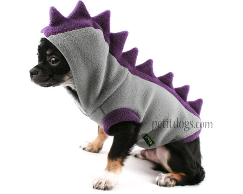 Dog Costume Dinosaur Spikes Grey and purple fleece dog Hoodie