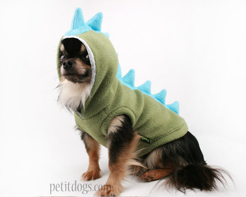 Dog Costume Dinosaur Spikes Green fleece cute Hoodie chihuahua pug yorkie frenchie