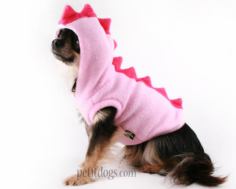 Dog Costume Dinosaur Spikes pink fleece Hoodie for chihuahua, pug, Boston terrier, Yorkie