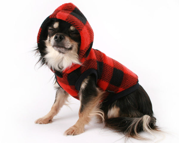 Dog Clothes Red and Black Buffalo Plaid Flecce fleece dog hoodie Cute dog coat