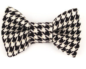 Dog Collar Bow Tie Classic Black & White Houndstooth collar accessory
