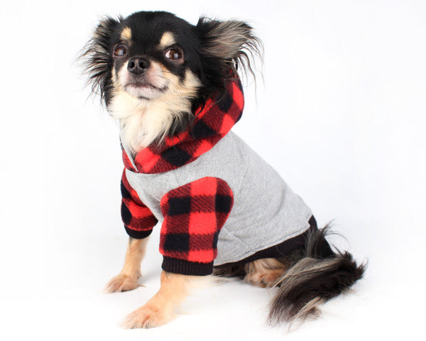 Dog Clothes Red Buffalo Plaid Trendy fleece dog hoodie