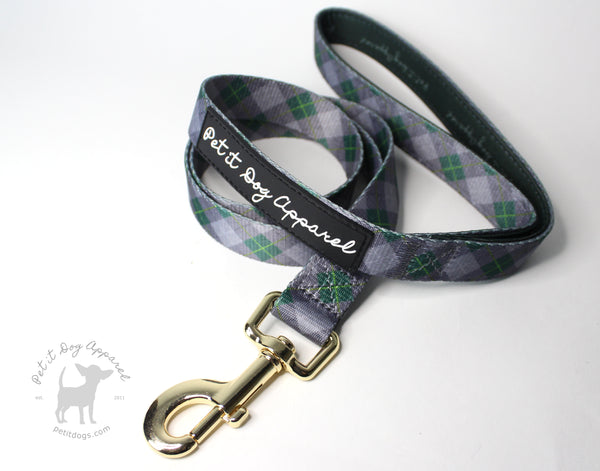 Signature Green & gold Plaid Argyle Dog Leash