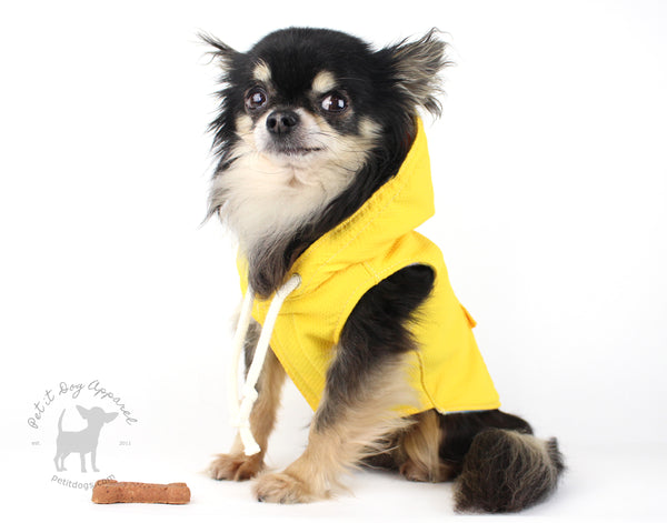 Yellow Dog Raincoat fleece lined spring coat for small and medium dogs custom made dog coat