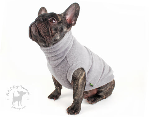 Grey Fleece turtle neck dog sweater cozy pull over dog shirt