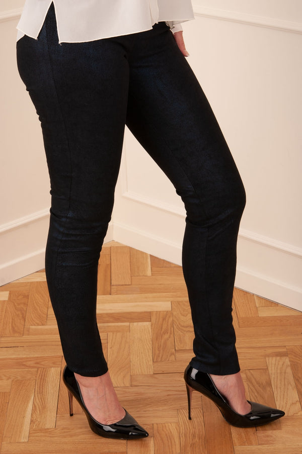 Veloursleder Leggings Blau Coated