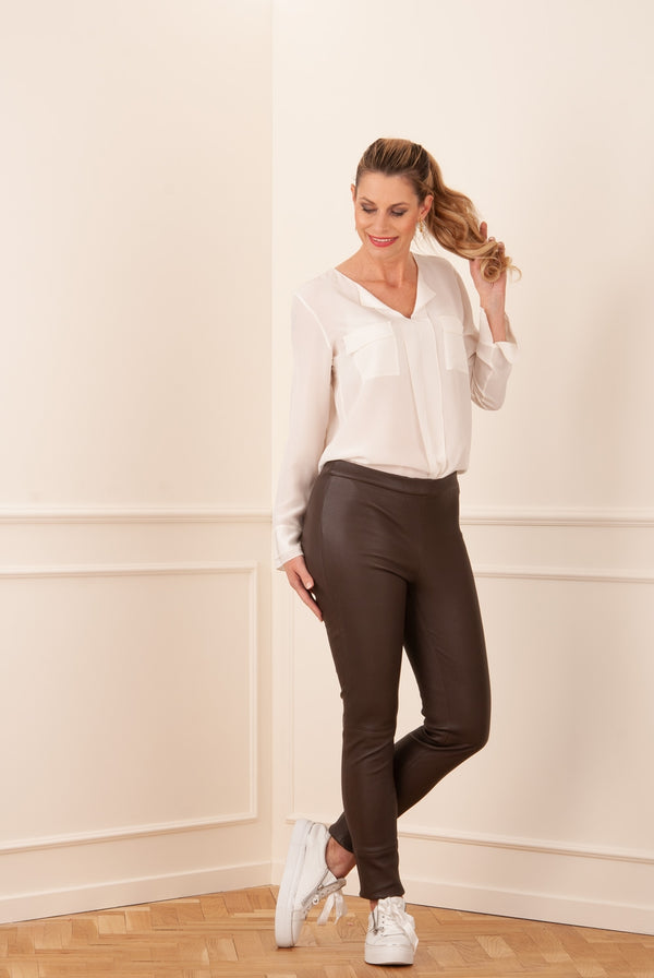 Leder Leggings Braun