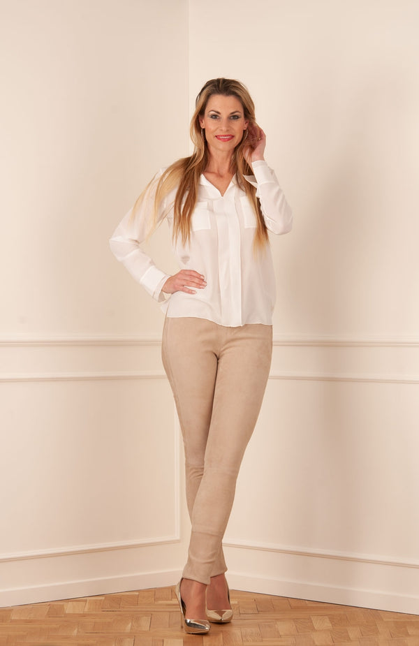 Veloursleder Leggings Beige